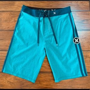 Teal Hurley Phantom Board Shorts, Size 28